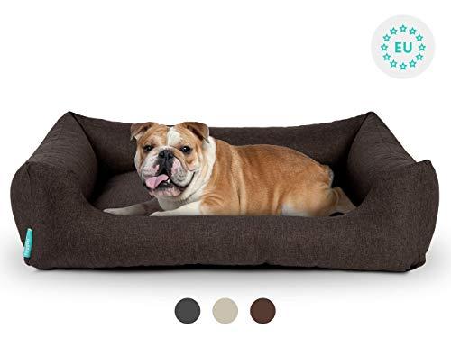 Hyggins Dreamer Pure Hundebett | Bezug abnehmbar und waschbar | Robust und pflegeleicht (XL 117 x 80cm, Braun-Anthrazit)