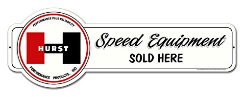 Hurst Speed Equipment Sold Here - Vintage Metal Sign 28x10 Drag Gasser Shifter Wheels Drag GTO Chevy Hot Rod Trans Am Camaro Yenko Chevelle Boss Fairlane AMX Corvette Barracuda Challenger Charger -  BBT, BBT-044N