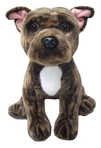 "Faithful Friends Staffordshire Bull Terrier Dog Stuffed Animal 12""/30cm Plush Toy Brindle"