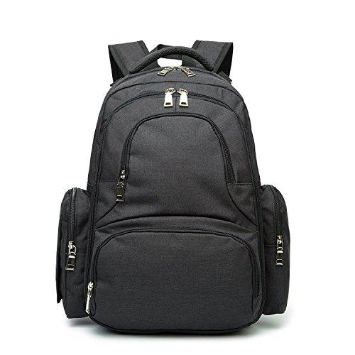 BISON DENIM Baby Wickelrucksack Wickeltasche mit Wickelunterlage Multifunktional Babytasche Canvas Kein Formaldehyd Reisetasche für Unterwegs (Schwarz)