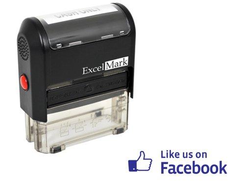 ExcelMark Self Inking Like Us On Facebook Stamp - Blue Ink
