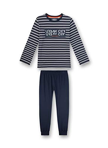 Sanetta Jungen Pyjama Lang Schlafanzughose, Blau (blau 5961), (Herstellergröße:128)
