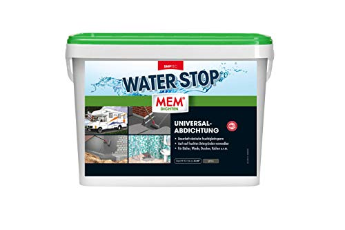 MEM 30822572 Dichtmasse - Universalabdichtung und Feuchtigkeitssperre für z.B. Dächer, Wände, Bad und Dusche - Rissüberbrückung - Paste Water Stop, grau, 14 kg