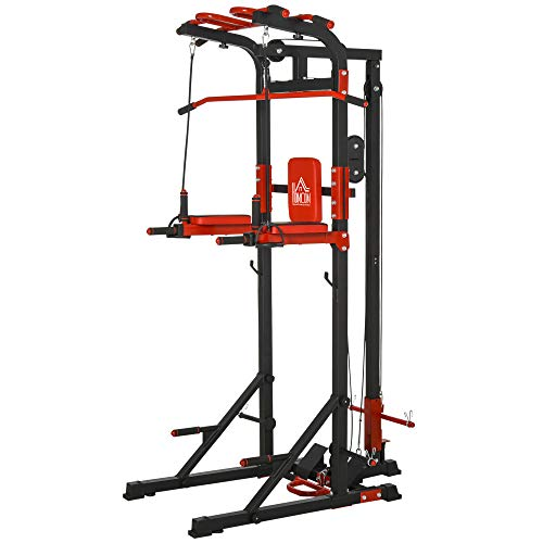 HOMCOM Power Tower Adjustable Height Pull Up&Push Up&Dip Station,Home Strength Training Fitness Workout Station Arms, Legs, Back,Waist, Buttocks, Abdomen Exercise