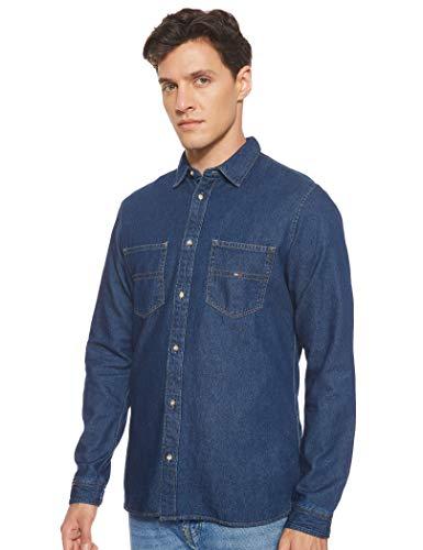 Tommy Jeans Herren Pocket Langarm Regular Fit Jeanshemd Blau (Dark Indigo 406) Small (Herstellergröße: S)