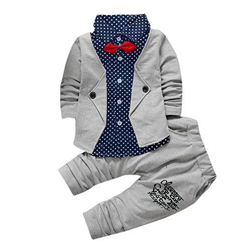Sunday Kleinkind Baby Kleidung Jungen 0-6 Monate Suit Formelle Hochzeit Jacke Top +Hose Outfits Set 2 Stück Kinderbekleidung (19-24M, B-Grau)