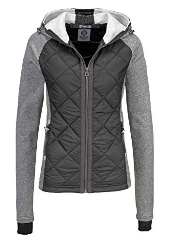 KangaROOS Damen Fleecejacke Jacke Materialmix (Anthrazit, 32/34 (XS))