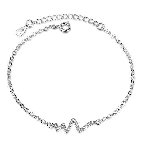 Pulsera de moda ECG para enfermera, cardiograma, corazón, eslabones de cadena, ajustable, para colgar como regalo para mamá, mamá, hija, fiestas, amante, cumpleaños, festivales