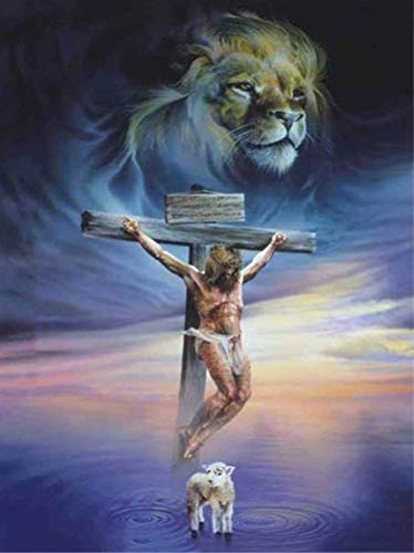 Diamond Painting by Number Kit, LPRTALK 5D DIY Diamond Painting Scenery Full Round Drill Jesus and Lion Embroidery for Wall Decoration 12X16 inches (Full Drill)