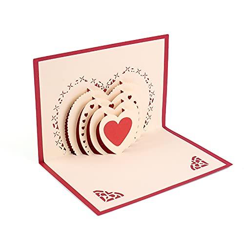 KUNSTIFY Tarjeta de felicitación 3D desplegable de regalo para novia, aniversario, hombre, mujer, padre, madre, pareja, boda, regalo de amor, declaración de amor, regalos de boda, corazón blanco