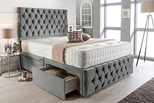 Juego de cama de diván de espuma viscoelástica de felpa doble gris con colchón de copeta, 2 cajones, cabecero alto y estribero..
