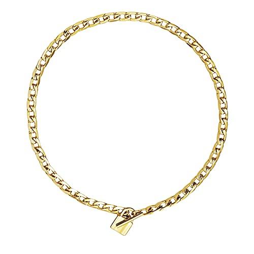 Collar de mujer cadena barbada maciza acero inoxidable baño oro amarillo 18k candado cierre T