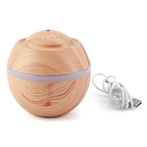Mini humidificador, 500ML 7 Colores LED Humidificador ultrasónico USB portátil Cool Air Difusor de Aceite Purificador Oficina en casa(Color de Madera Claro)