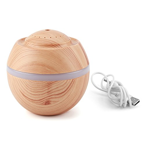 Mini humidificador, 500ML 7 Colores LED Humidificador ultrasónico USB portátil Cool Air Difusor de Aceite Purificador Oficina en casa(Color de Madera Claro)