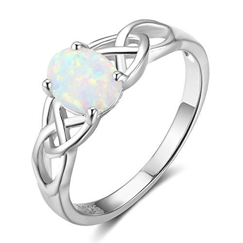 PHOCKSIN Sterling Silver White Opal Celtic Knot Engagement Promise Band Rings Anniversary Wedding Bridal Ring for Mother's Day