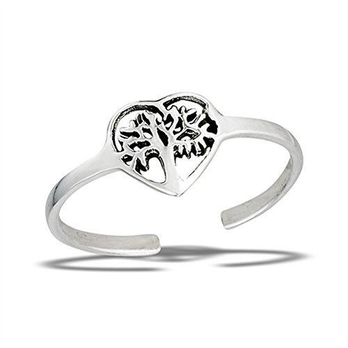 Tree of Life Heart Cutout .925 Sterling Silver Promise Branch Leaf Midi Toe Ring Band