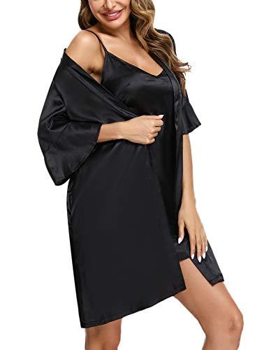 Aibrou Nachthemd Damen Satin Morgenmantel Zwei Stücke Nachtwäsche Sexy Kimono 3/4 Ärmel Bademantel V Ausschnitt mit Gürtel und Sexy Nachtkleid
