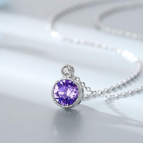 WEIXINMWP Ocean Heart 925 Sterling Silver Necklace Clavicle Chain Female Crystal Simple High-end,purple