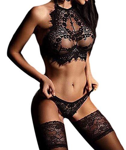 ULEEMARK Conjunto de lencería de Encaje Sexy para Mujer Perspectiva Tres Puntos tentación