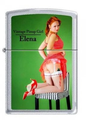Zippo 2.002.954 Feuerzeuge Vintage Pin Up Girl Elena - Limited Edition 001/500-500/500 - MM - Collection 2012 - Satin Finish