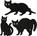 3Pack Black Cat Silhouette for Garden - Cats Scarer with Marble Eyes - Harmless Bird Deterrent, Fox Repellent, Rodent Repeller - Decorative, Weatherproof, Silent, Ecological