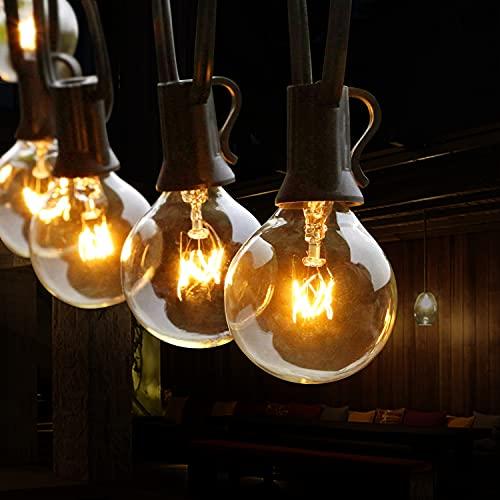 Lichterkette Außen, TOGAVE 9.5M Lichterkette Glühbirnen Außen 29 G40 Birnen IP44 Wasserdicht Outdoor Lichterkette Draussen Balkon Strom für Garten,Balkon,Terrasseund Innenzimmer - Warmweiß