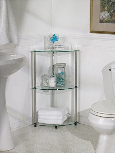 Convenience Concepts Designs2Go Classic Glass 3 Tier Corner Shelf