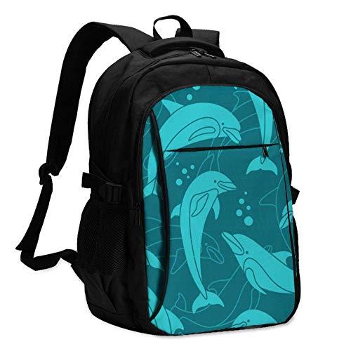XCNGG Mochila USB con múltiples Bolsillos, Mochila Informal, Mochila Escolar Cyan Dolphins Unisex Travel Laptop Backpack with USB Charging Port School Anti-Theft Bag