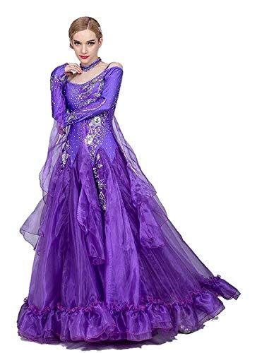 Fhxr Vestido de baile estndar nacional para mujer, traje de danza moderno, traje de danza social, vestido de vals (color: morado, tamao: XXL)