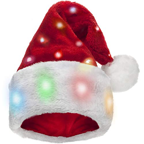 Winks Novelty Divertido Gorro de Papá Noel con 20 Luces LED Intermitentes Que cambian de Color elaborado en Felpa...