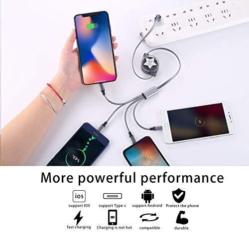 Amuvec Multi USB Kabel, 4 in 1 Einziehbares Universal Mehrfach Ladekabel Micro USB Typ C 2 iP für Phone 11 Xs X 8 7 6 Android Galaxy S9 S8 S7 Huawei Xiaomi Honor Oneplus Sony Kindle PS4 Echo Dot
