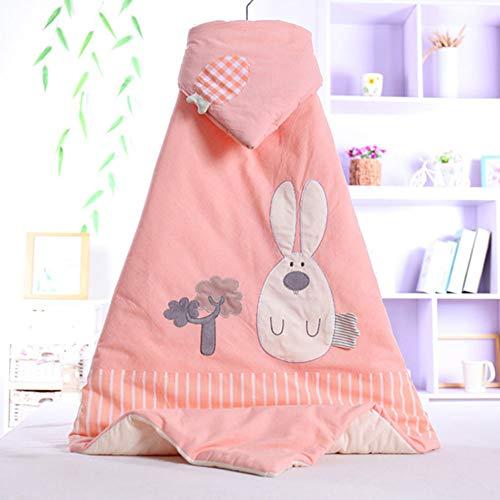 JUYOU Sacco nanna per bambini Trapunta per bambini, cotone a righe colorate, fodera per neonato, coperta per abbracci in cotone ricamato in cartone animato autunno e inverno