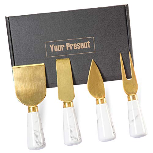 4PCs Golden Marble Cheese Spreader Knife Set, 4 Sizes Butter Spatula Knives, Cheese Spreading Cutter with Ergonomic Ceramic Handle, Cheese Shaver and Fork for Holiday, Birthday, Wedding, Party (Gold)