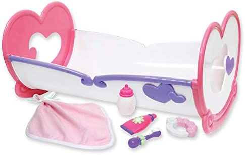 JC Toys Deluxe Rocking Doll Crib and Accessories Perfect for Small and Large Dolls up to 16 product image
