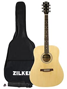 c709ca57c19 Zilker ZAE1NT Dreadnought Acoustic-Electric Guitar Pack with Gig Bag Strap  and Pick - Natural