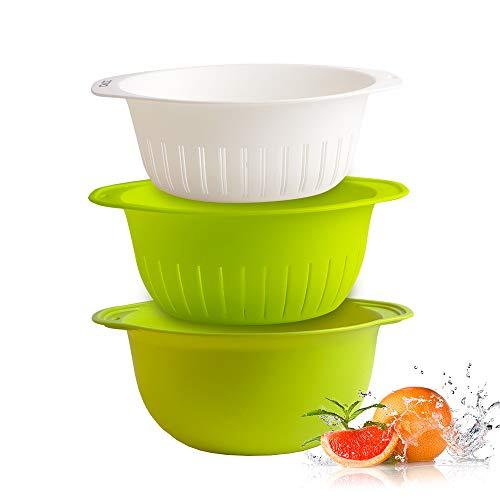 zova Küchensieb, stapelbar, groß, tief, Sieb, für die Küche, mit Griffen, Weiß & Grün