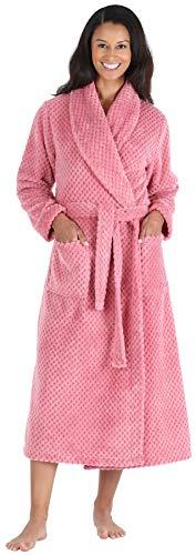 Sleepyheads Women's Plush Fleece Robe Jacquard Long Sleeve Bathrobe, Mauve Pink (SH1400-5015-MED)