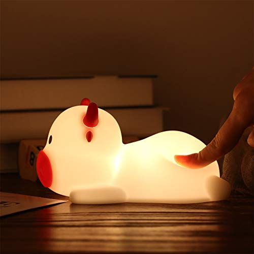 Cute Calf Night Light Lamp 1-10 Age USB Rechargeable Touch Remote Control LED Color Changing Nightlight for Children Kid Baby Nursery Toddler Newborn Bedroom Bedside Boy & Girl Room Decor Cow Gift