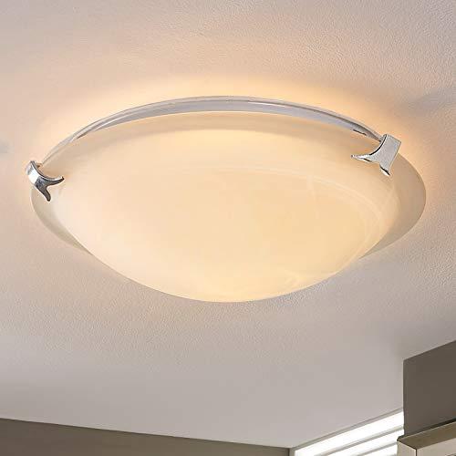 Lindby LED Deckenleuchte \'Genoveva\' (Modern) in Weiß aus Glas u.a. für Wohnzimmer & Esszimmer (1 flammig, E27, A+, inkl. Leuchtmittel) - Lampe, LED-Deckenlampe, Deckenlampe, Wohnzimmerlampe