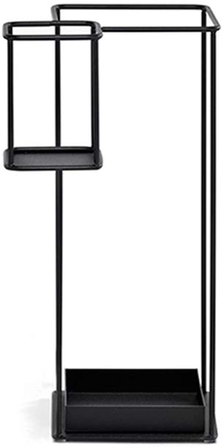 MYQ Umbrella Stand- 31x31x60cm Metal Walking Stick Stand Storage Holder Rack for Black Hallway Umbrella Stand (color   Black)
