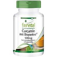 Curcumina + Piperina (Bioperine) 500mg - Extracto de Cúrcuma - VEGANO - 95% de Curcuminoides - 120 Cápsulas - Calidad Alemana