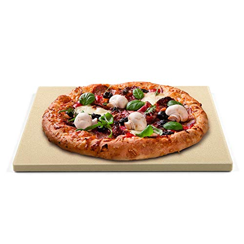 Cook N Home Pizza Grilling Baking Stone, 16-inch x 14-inch rectangular x 5/8-inch thick, Cream