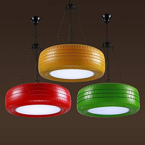 UWY Candelabro de Llantas de Colores LED Retro de Tres Colores, lámpara Colgante Creativa, Accesorio de iluminación, para Bar, Restaurante, cafetería, Dormitorio, Comedor, Sala de Estar (Color: