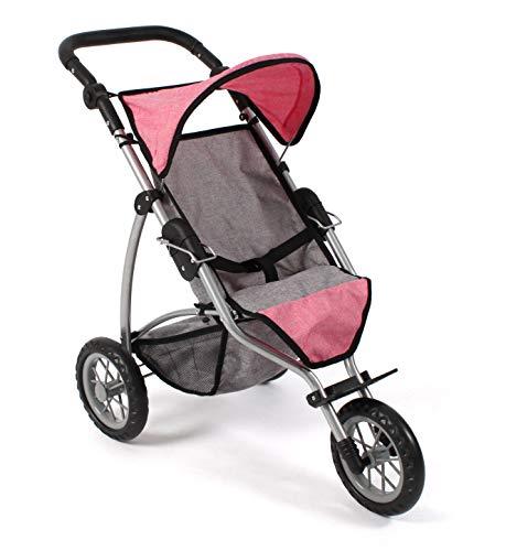 Bayer Chic 2000 613 57 Jogging Buggy Leon, Puppenbuggy für Baby-Puppen bis 50 cm, Puppenwagen, Melange pink