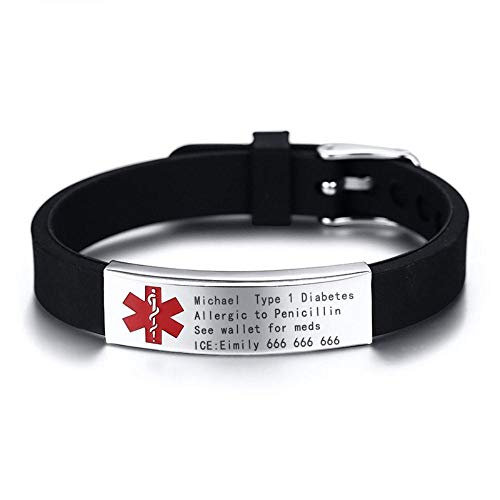 Bracelet à graver avec une alerte médicale DIABÈTE ALLERGIE SANGUINE Maladie d'Alzheimer