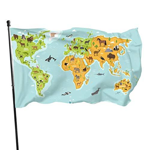 Bandera de jardín, mapa del mundo con animales de la vida silvestre, colores vivos y resistente a los rayos UV, con doble costura, para patio, bandera de temporada, banderas de pared, 150 x 90 cm