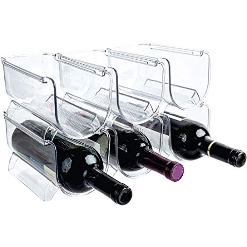 Suading Organizador de botellas de vino y agua apilable para encimeras de cocina, mesa, despensa, nevera, barras