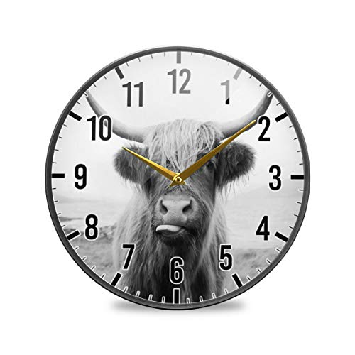 Blueangle 9.5 Inch Funny Scottish Highland Cow Wall Clock, Silent Non-Ticking Quartz Decorative Wall Clocks for Kitchen/Living Room/Bathroom/Bedroom/Office