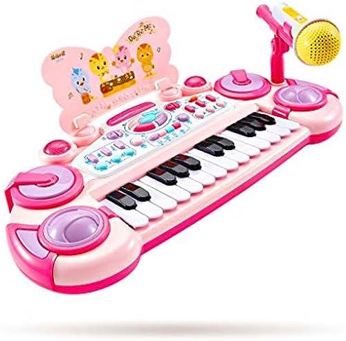 LINGLING-Tastatur Kinder Cartoon Klavier mädchen Tastatur Spielzeug Trommeln Musikinstrumente Geburtstagsgeschenke (Farbe   Rosa-1)