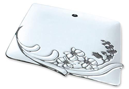 GILDE Sophia Bol en céramique Blanc et argenté Hauteur 2,5 cm Largeur 38 cm Profondeur 36 cm